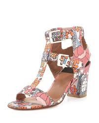 laurence dacade diane leather floral print sandals in pink lyst