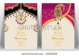 indian wedding card indian wedding card gold crystals color stock vector 526501036
