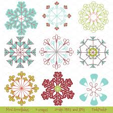 mod snowflakes vectors and clipart illustrations creative market