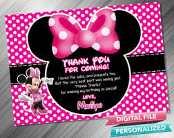 minnie mouse thank you cards etsy
