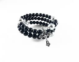 black rosary black agate rosary five decade rosary bracelet wristrosaries