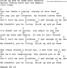 Blind Chords Country Music Drink Up And Go Home Carl Perkins Lyrics And Chords