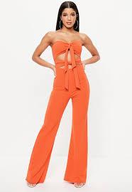 orange jumpsuit orange tie front jumpsuit missguided