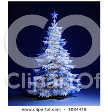 clipart 3d white tree with blue ornaments on blue