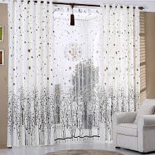 White Patterned Curtains Printed Tree Pattern In Coffee Color White Polyester Country Style