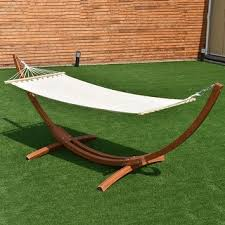 deluxe wood arc hammock stand brown set free shipping today