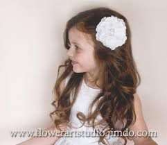 infant hair white or ivory flower hair clip girl flower hair clip infant