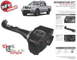 nissan frontier air filter afe power new product release momentum gt intake system 2005 2015