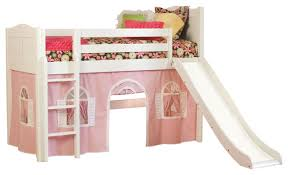 cottage twin low loft bed white with pink and white bottom
