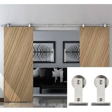 Sliding Barn Door Tracks And Rollers by Diyhd 10ft Top Mount Double Sliding Barn Door Stainless Steel