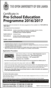 certificate in pre education programme 2016 2017 open