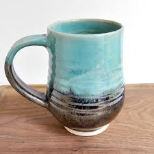 handmade pottery mug or stein seconds sale tea mug turquoise