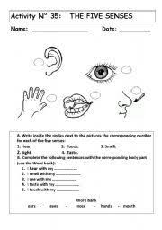 our five senses worksheets kids pages the five senses 6