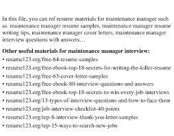 maintenance manager resume sample maintenance resume template