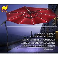 offset patio umbrella with led lights 9 ft cantilever solar powered led light patio offset hanging