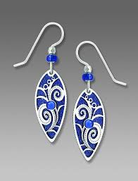 royal blue earrings adajio earrings royal blue pointed oval with floral overlay talich