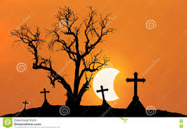 halloween concept background with scary silhouette dead tree and