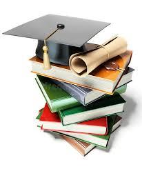 graduation books graduation mortar on top of books stock illustration