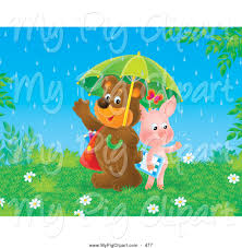 swine clipart of a happy friendly pig and bear students sharing an