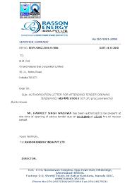 Authorization Letter Representative Sample Authority Letter For Attending Tender