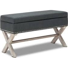 Buy Ottomans Polyester Upholstered Studded Storage Ottoman Grey Buy Storage