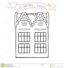 coloring book with house building vector illustration for the