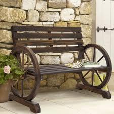 bench rustic patio bench bcp patio garden wooden wagon wheel