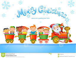 toy train with santa claus and kids stock vector image 47662245