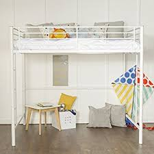 Bunk Bed White New Size Loft Bed White Metal Finish Kitchen