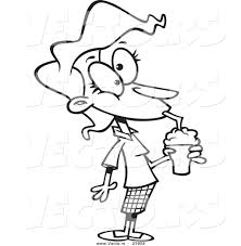 vector of a cartoon woman drinking a milkshake coloring page