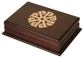 engraved box custom wood card box has room for 2 decks of cards