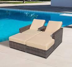 outdoor 3pc rattan wicker sofa patio furniture lounge set chaise