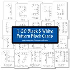 pattern and numbers free black and white pattern block cards numbers 1 20 pattern