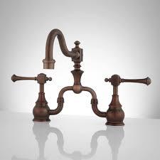 rubbed kitchen faucets l vintage bridge kitchen faucet lever handles rubbed bronze 2