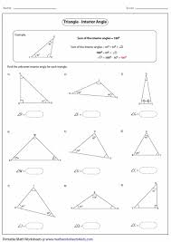 finding missing angles in triangles worksheet interior angle large png