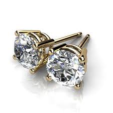 gold diamond stud earrings 14kt yellow gold four prong diamond stud earrings union diamond
