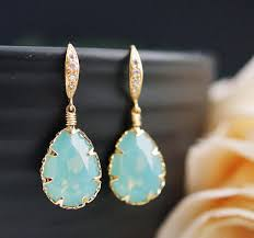 turquoise opal earrings wedding bridal earrings bridesmaid earrings mint pacific opal