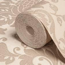 B Q Bedroom Wallpaper Opus Clara Sand Damask Wallpaper Departments Diy At B U0026q