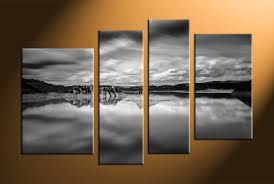 white walls home decor 4 piece canvas ocean black and white wall art
