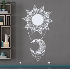bohemian sun moon vinyl wall decal indian style mandala decals