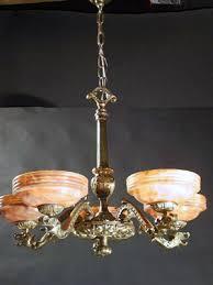 Alabaster Chandelier Genuine Antique Lighting 5 Light Alabaster Chandelier With Gargoyles