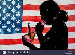 State Flag Of Colorado Man Smoking Bong With American Marijuana Flag In Background Stock