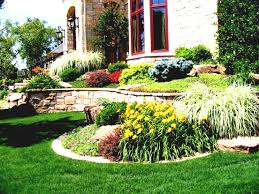 small grass garden at house front and patio simple landscaping
