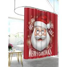 Santa Curtains Christmas Santa Letters Print Waterproof Fabric Shower Curtain