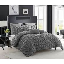 charcoal bedding 8 piece charcoal gray comforter set king size pintuck modern