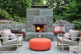 Mid Century Modern Outdoor Furniture by Bluestone Fireplace Patio Midcentury With Planter Boxes Modern