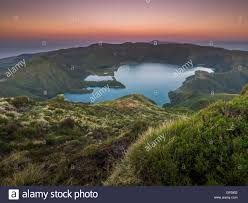 Stunningly by Stunningly Beautiful Volcanic Crater Lake Lagoa Do Fogo Fire