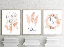 42 best girls nursery and bedroom wall art decor prints images on set of 3 nursery prints girls peach boho watercolor bedroom wall art personalised nursery