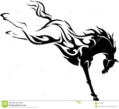 mustang horse silhouette wild horse flaming power kick stock vector image 50750527