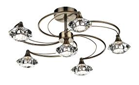 Brass Ceiling Lights Luther 6 Light Semi Flush Light Finish Antique Brass Amazon Co